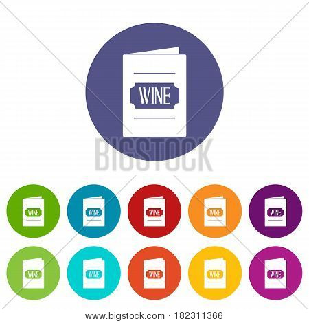 Wine list icons set in circle isolated flat vector illustration