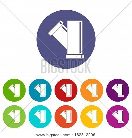 Sewerage icons set in circle isolated flat vector illustration