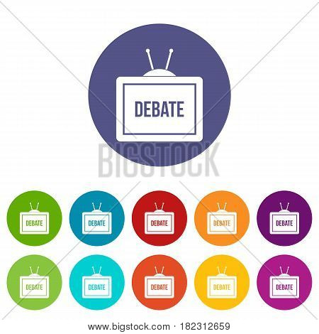 TV with the Debate inscription on the screen icons set in circle isolated flat vector illustration