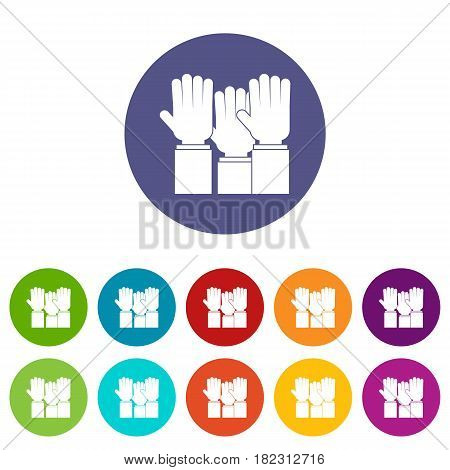 Different people hands raised up icons set in circle isolated flat vector illustration