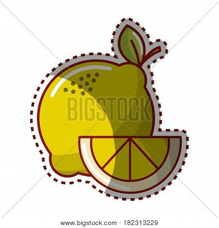 sticker lemon fruit icon stock, vector illustration design image