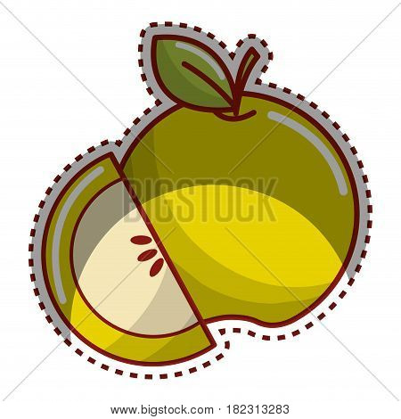 sticker green apple fruit icon stock, vector illstration design image