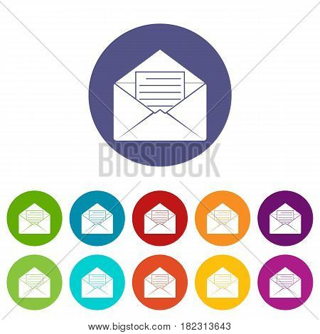 Postal parcel icons set in circle isolated flat vector illustration