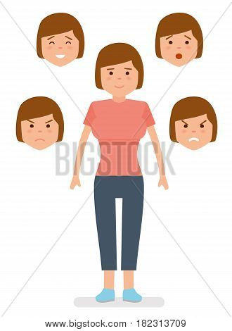 Woman with different facial expressions. Joy, sadness, anger, surprise, irritation. Girl different emotions. Avatar icons Flat vector illustration