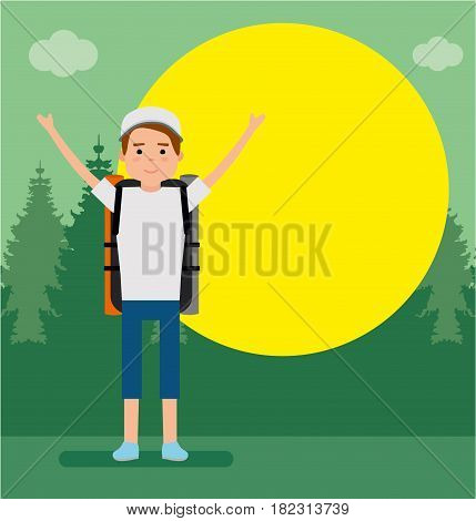 The young traveler on the background of the forest, behind the sun The guy raised his hands and smiles. Flat style illustration