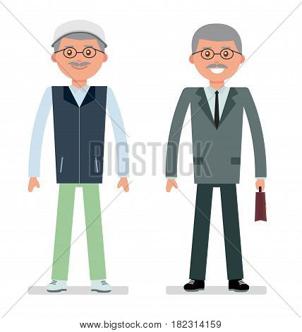 Elderly businessman in a business suit and a tracksuit for the game of Golf. Flat vector illustration.