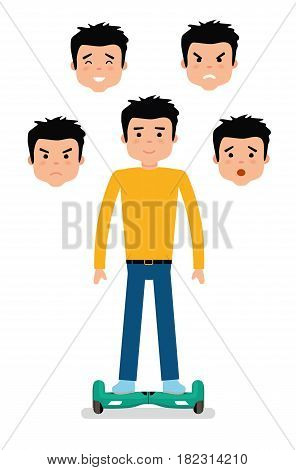 Young Man with different facial expressions. Joy, sadness, anger, surprise, irritation. Man different emotions. Avatar icons. Flat vector illustration