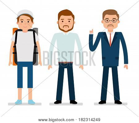 Flat vector illustration. The young traveler, a clerk and businessman. White background. User avatars