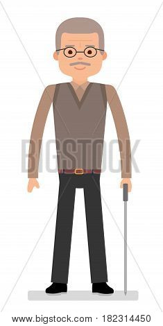 An elderly man with a cane on white background. Flat vector illustration.