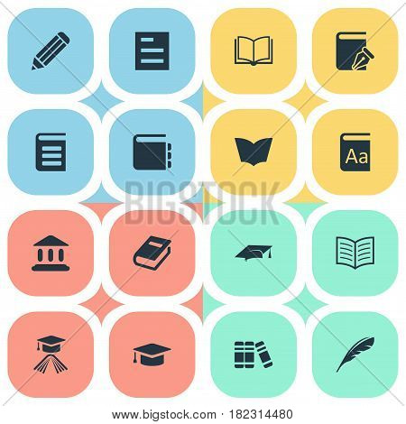 Vector Illustration Set Of Simple Knowledge Icons. Elements Notebook, Alphabet, Pen And Other Synonyms Feather, Reading And Dictionary.