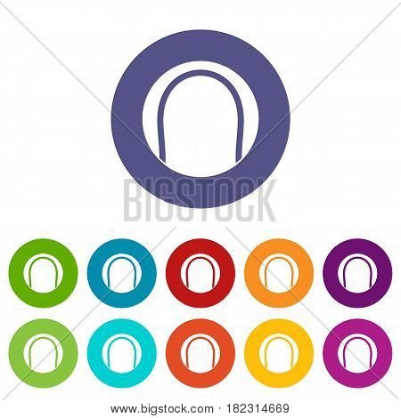 Puck icons set in circle isolated flat vector illustration