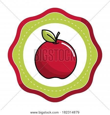 emblem sticker red apple fruit icon stock, vector illstration design image