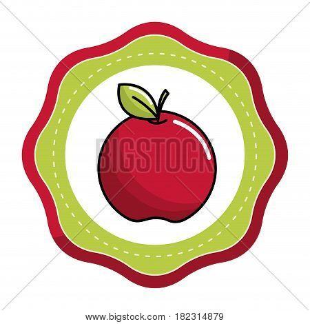 emblem sticker red apple fruit icon stock, vector illstration design image