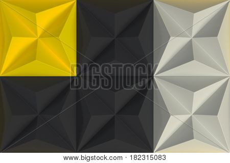 Pattern Of Black, White And Yellow Pyramid Shapes