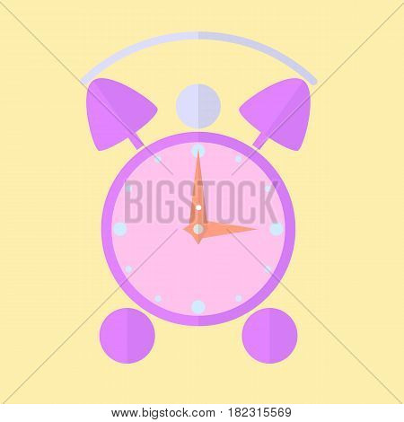 Alarm clock icon with long shadow. Flat design style. Clock silhouette. Simple icon. Modern flat icon in stylish colors. Web site page and mobile app design element.