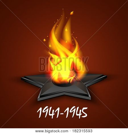 Eternal fire, ribbon St. George's, Russian holiday May 9, Victory Day. A greeting card, a day of memory. Vector illustration.