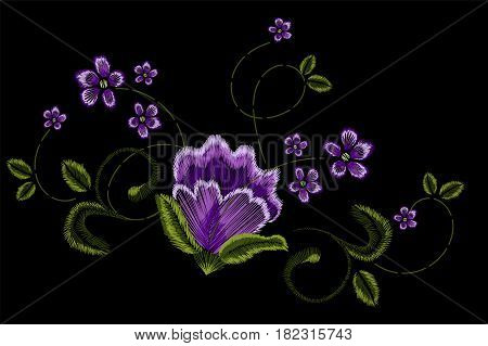 Embroidery, floral ornament, fantasy flowers, fashion decor, Pen tool draw vector illustration