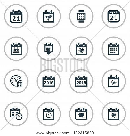 Vector Illustration Set Of Simple Time Icons. Elements History, Summer Calendar, Heart And Other Synonyms Day, Reminder And Planner.