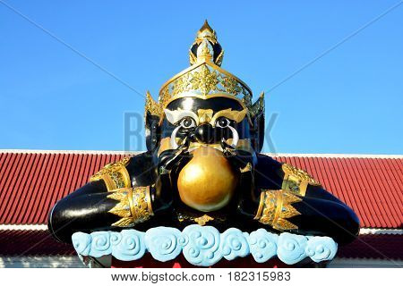 Phra Rahu in Thailand (Rahu om jan) Rahu the mythical of Darkness. He has half body but invisible. The statue pose is the giant swallow the moon for the eclipse