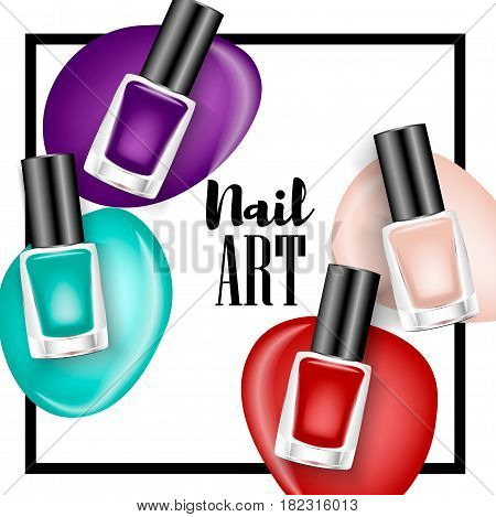 Beautiful colorful nail lacquer ads, glass bottle elements, vector realistic 3d illustration