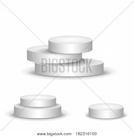 set three podiums. Three-stage, two-stage and one-stage podium on isolated background. Beautiful vector 3d scene, illustration.