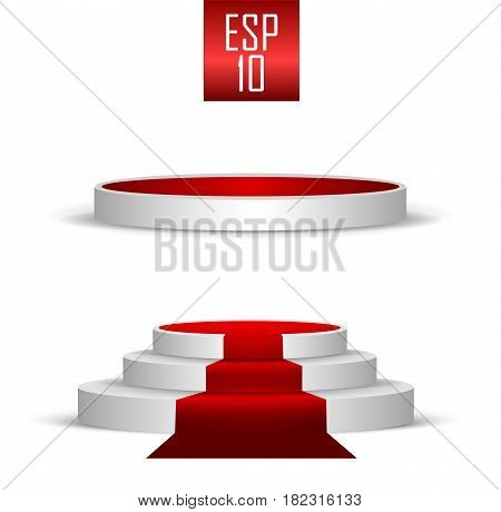 Set two podiums. Three-stage and one-stage. red carpet, podium on isolated background. Beautiful vector 3d scene, illustration.