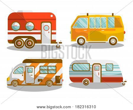 Camping bus or camper van motorhome car or vehicle types. Holiday trip mobile accommodation of vintage or modern caravanette coach. Vector illustration of recreation or family camp travel or tourism