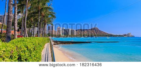 Panoramic View Onto Diamond Head In Waikiki Hawaii