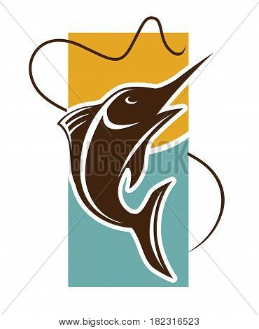 Fishing time logo template. Fish catch on rod hook vector icon for fishery industry or fisherman club and fisher sport adventure or seafood market or store