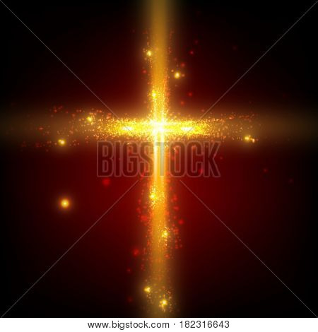 Shining cross on red background with backlight and glowing orange particles. Abstract vector religious background. Glowing saint cross. Spiritual shining background. EPS 10