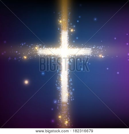Shining cross on colorful background with backlight and glowing particles. Abstract vector religious background. Glowing saint cross. Spiritual shining background. EPS 10
