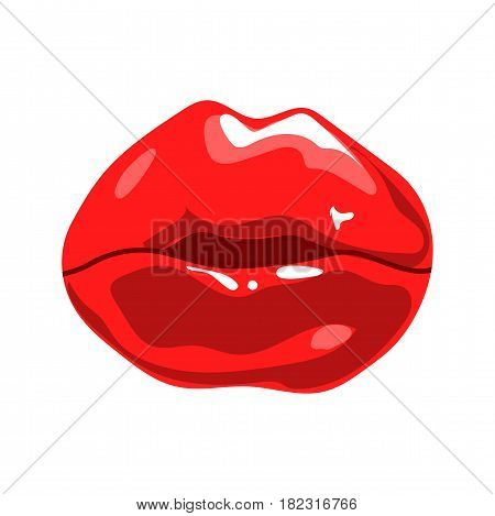 Red mouth isolated on white. Female beautiful lips with red lipstick. Vector illustration of sensual lips