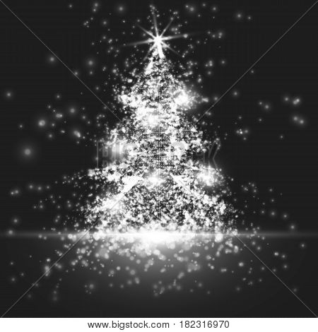 Shining christmas tree on monochrome background with backlight and glowing particles. Abstract vector background. Glowing fir-tree. Elegant shining background for you design. EPS 10