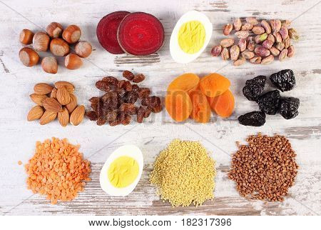 Ingredients Containing Iron And Dietary Fiber, Healthy Nutrition