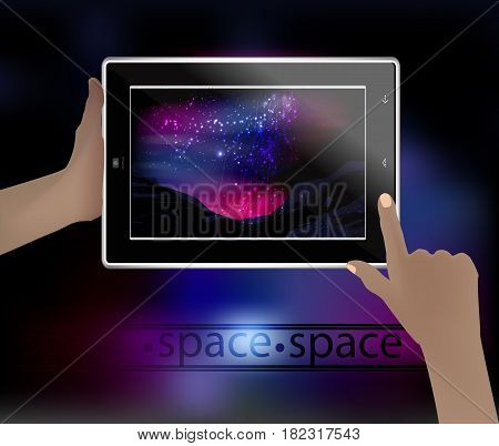 Space Picture In A Smart Phone.