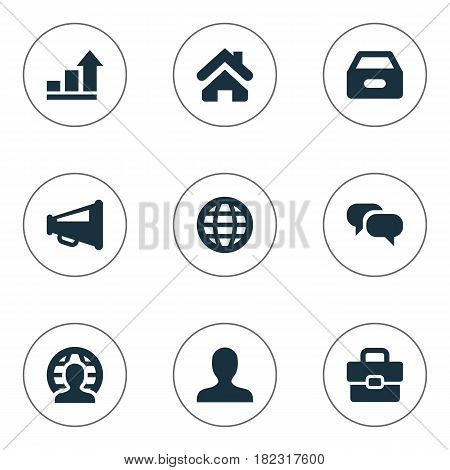 Vector Illustration Set Of Simple Job Icons. Elements Home, Anonymous, Progress And Other Synonyms World, Anonymous And Progress.