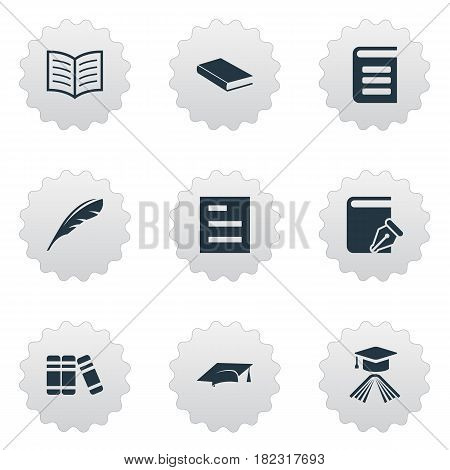 Vector Illustration Set Of Simple Education Icons. Elements Notebook, Encyclopedia, Sketchbook And Other Synonyms Literature, Note And Feather.