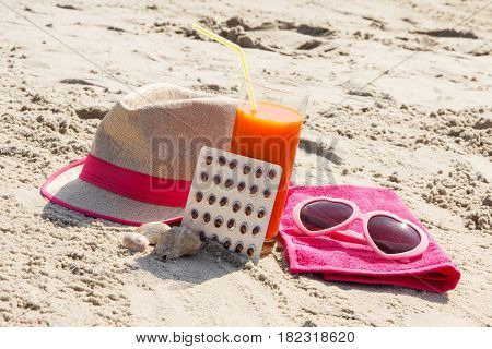Medical Pills, Carrot Juice And Accessories For Sunbathing At Beach, Vitamin A And Beautiful, Lastin