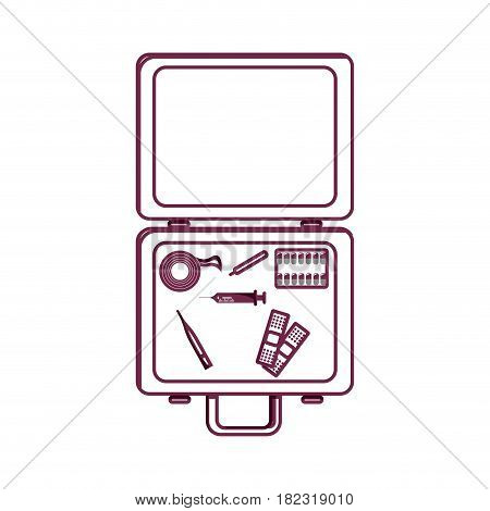 silhouette first aid kit emergency, vector illustration