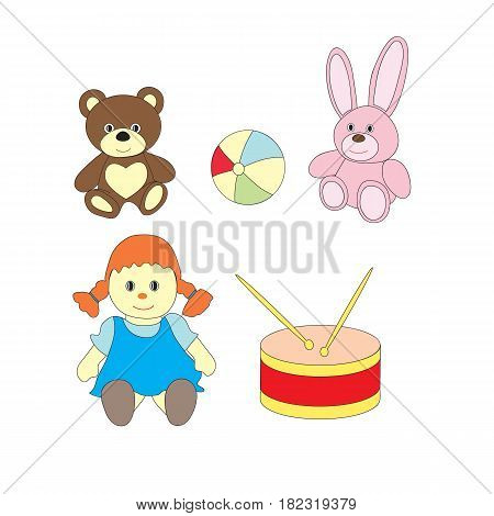 A set of toys for girls. A vector picture with a ball, a doll, a bear, a drum, a hare on a white background