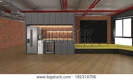 3D rendering of Pantry Room empty room