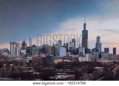 City of Chicago at sunset, Illinois USA