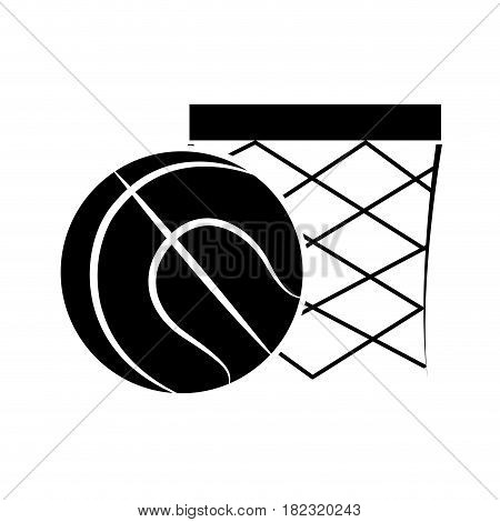 contour basketball and basket with the ball icon, vector illustration design