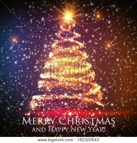 Shining christmas tree on colorful background with backlight and glowing particles. Abstract vector background. Glowing fir-tree. Elegant shining background for you design. EPS 10
