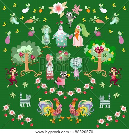 Fairy tale summer background with cute cartoon characters. Beautiful animal print with raccoons, roosters, cats and monkeys in the garden. Endless vector illustration.