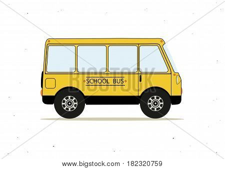 Vector illustration with cartoon yellow school bus