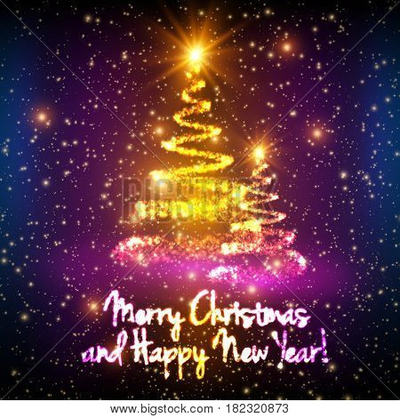 Shining christmas trees on colorful background with backlight and glowing particles. Abstract vector background. Glowing fir-tree. Elegant shining background for you design. EPS 10