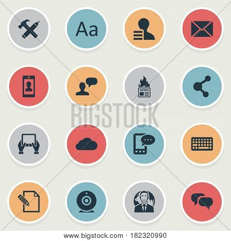 Vector Illustration Set Of Simple User Icons. Elements Gossip, Repair, Share And Other Synonyms Smartphone, Man And Notepad.