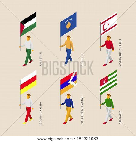 Set of 3d isometric people with flags of a disputed territories and partially recognised states. Standard bearers - Palestine, Kosovo, Northern Cyprus, Abkhazia, South Ossetia, Nagorno-Karabakh