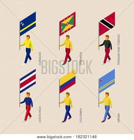 Set of 3d isometric people with flags of Caribbean countries. Standard bearers infographic - Curacao, Grenada, Trinidad and Tobago, Costa Rica, Colombia, Aruba.